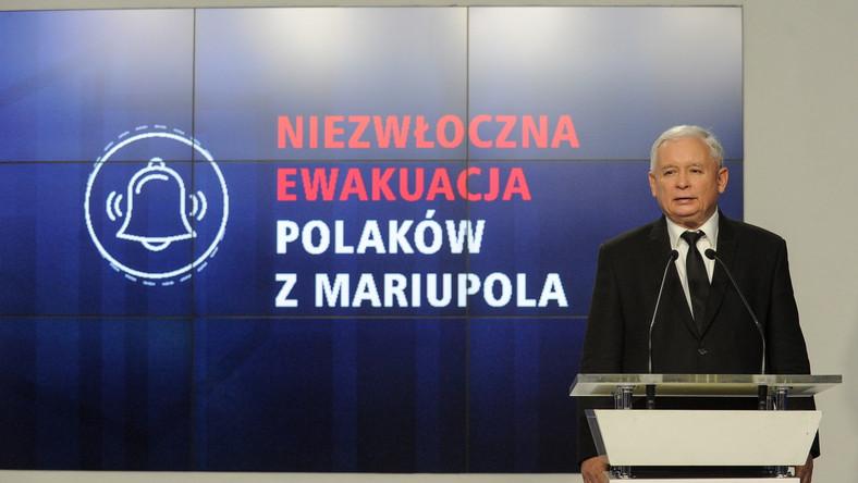 Prezes PiS Jarosław Kaczyński, podczas konferencji prasowej w Warszawie,