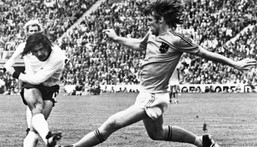 Gerd Mueller scores the winning goal for West Germany in the 1974 World Cup final against the Netherlands Creator: -