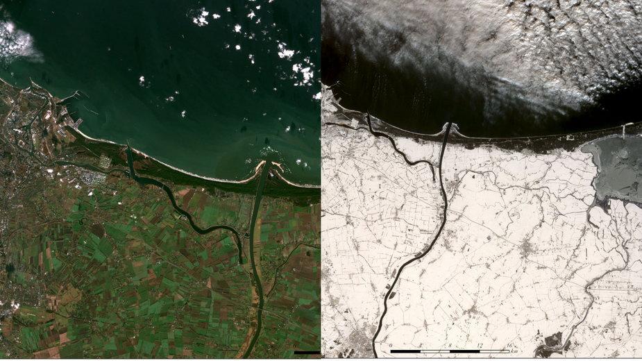Zdjęcia satelitarne ujścia Wisły w ciągu trzech tygodni