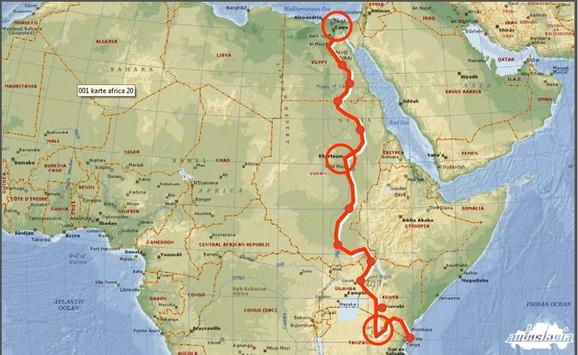 Mapa ekspedicije Kragujevac - Kilimandžaro