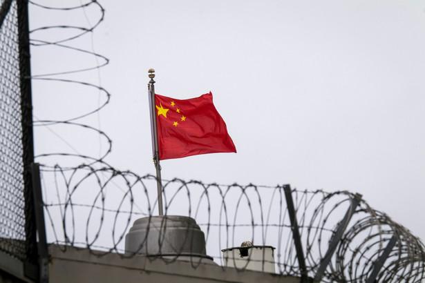 Flaga Chin na konsulacie ChRL w San Francisco, USA.