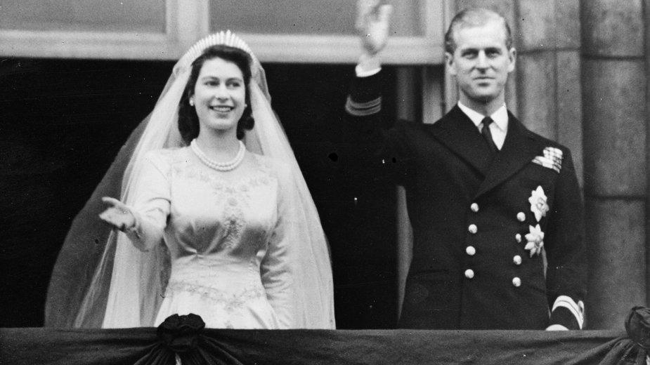 Elżbieta i Filip wkrótce po ślubie (1947 r.)