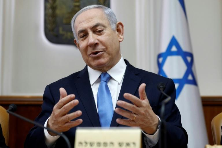 "Israeli Prime Minister Benjamin Netanyahu (pictured March 10, 2019) warned Gaza's Hamas rulers that Israel would not hesitate to launch a ""large-scale operation"" in the area, if provoked"