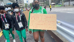 Frustrated Nigerian athletes are protesting at the Olympics in Japan