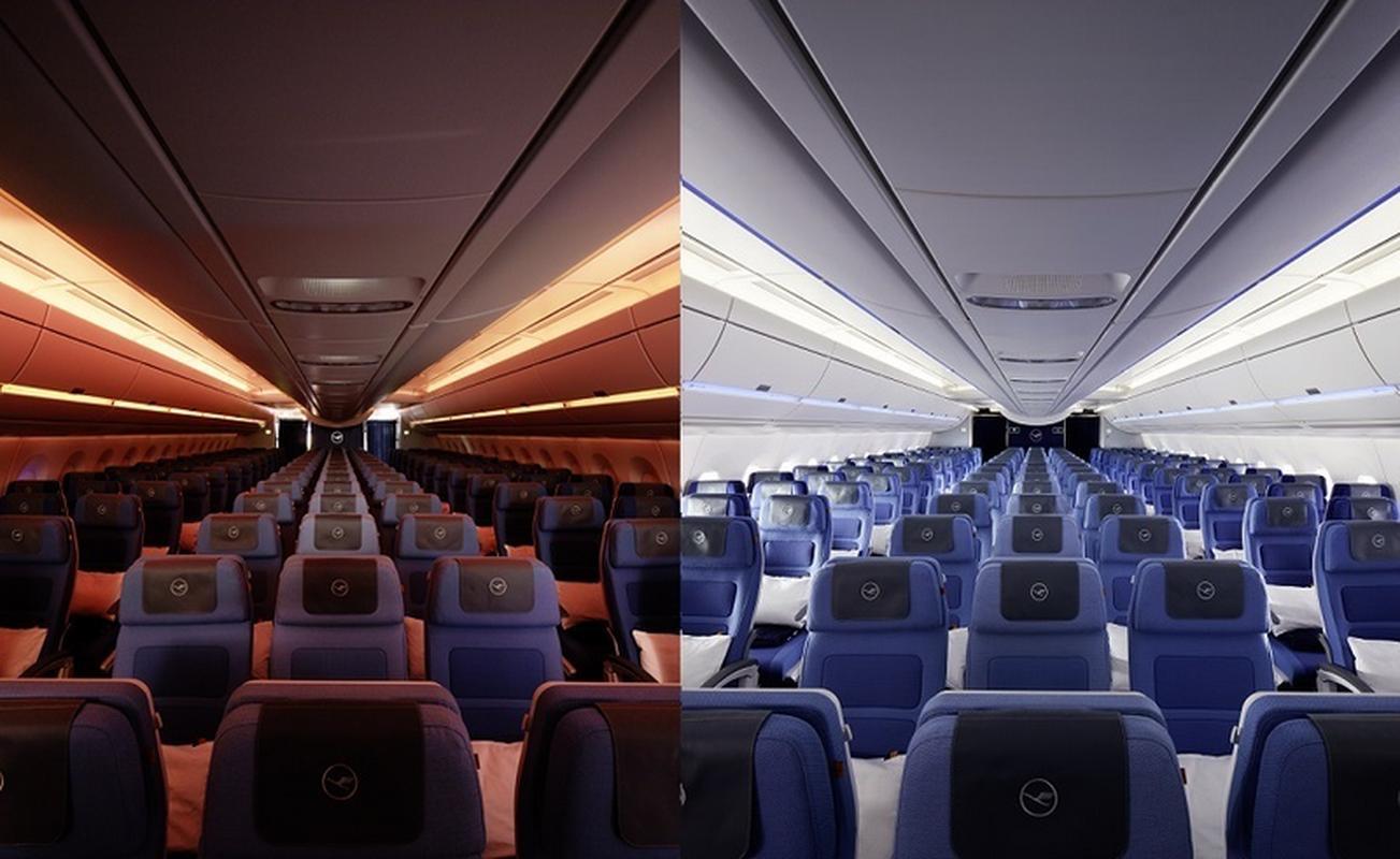 Oświetlenie LED w kabinie A350-900 w klasie ekonomicznej
