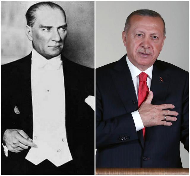 Kemal Ataturk i Redžep Tajip Erdogan