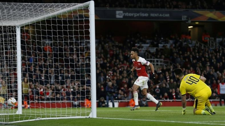 Pierre-Emerick Aubameyang scored twice as Arsenal beat Rennes 3-0 to reach the Europa League quarter-finals