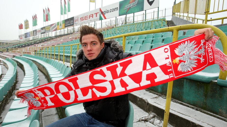 Daniel Sikorski na stadionie Legii Warszawa