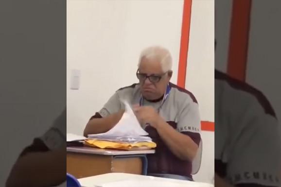(VIDEO) Učenici krišom snimali profesora koji im je pregledao testove, a njegove reakcije su URNEBESENE