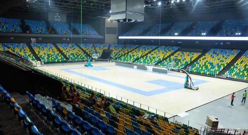 A basket ball court inside Kigali Arena.