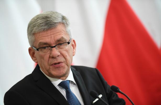 Marszałek Senatu Stanisław Karczewski podczas konferencji prasowej przed rozpoczęciem 30. posiedzenia Senatu.