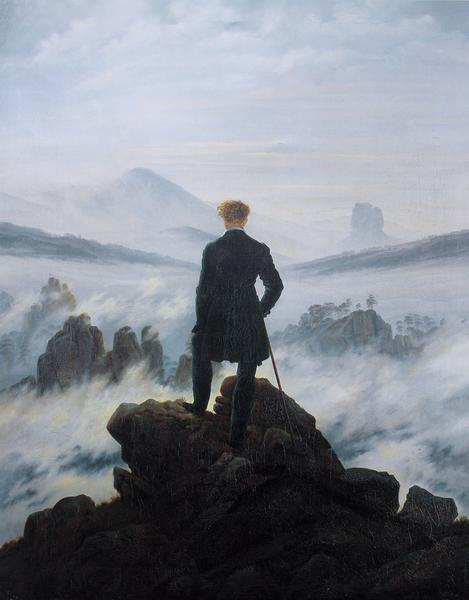 """Caspar David Friedrich, """"Wędrowiec nad morzem mgły"""""""