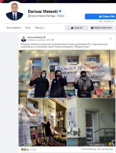 Wpisy Dariusza Mateckiego na FB