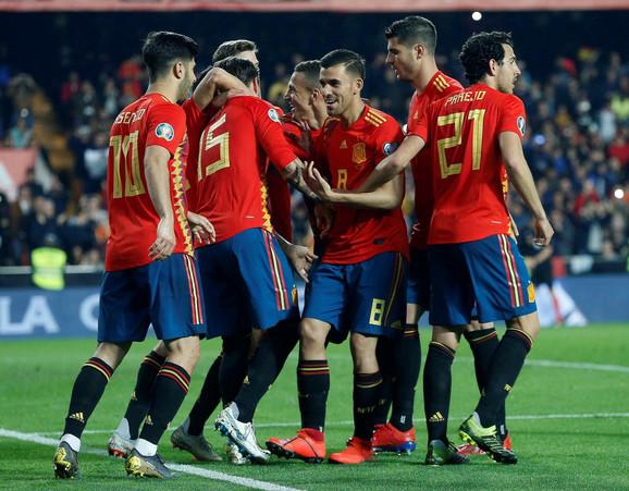 Slavlje fudbalera Španije nakon gola