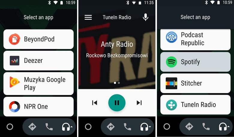 AndroidAuto - funkcje muzyki