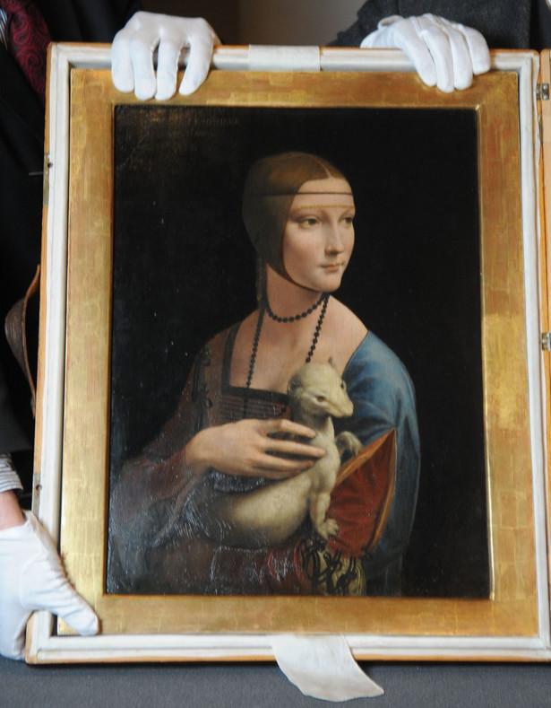 Prezentacja obrazu Dama z gronostajem pedzla Leonardo Da Vinci n/z obraz fot.focus - newspix.pl