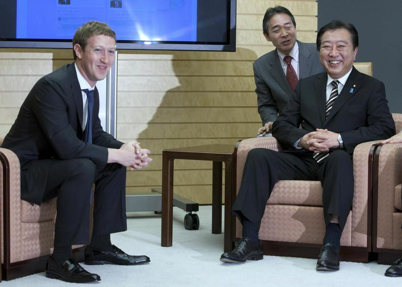 Mark Zuckenberg z premierem Japonii Yoshihiko Noda podczas rozmów o debiucie Facebooka