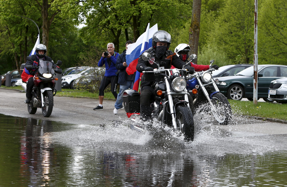 Members of the Russian motorcycle group called 'Nachtwoelfe' arrive at the parking place of the former German Nazi concentration camp in Dachau