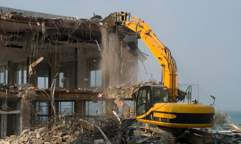 A building being demolished