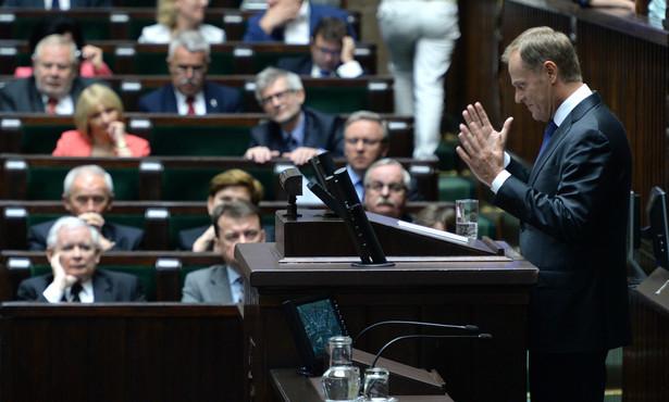 Warszawa, 09.07.2014. Wystąpienie premiera Donalda Tuska podczas posiedzenia Sejmu