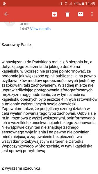 Odpowiedź zastępcy burmistrza Witkowa