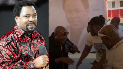Video: Boxer Ayitey Powers organises funeral for TB Joshua in Ghana; Bukom Banku attends
