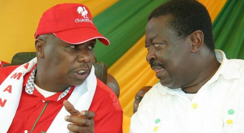 File image of Baringo Senator Gideon Moi with Musalia Mudavadi. The two leaders will share a platform in Kakamega today