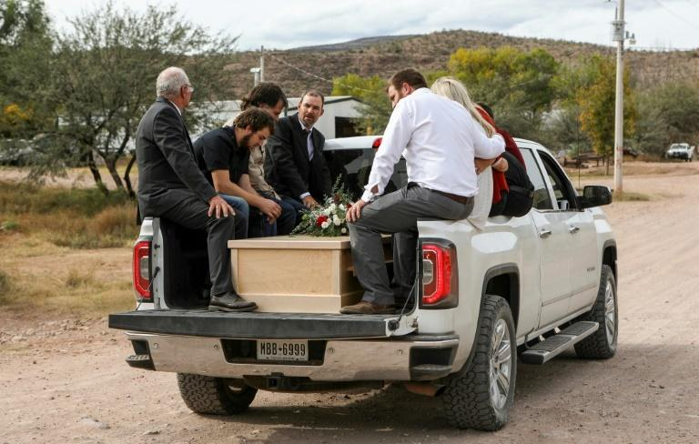 Relatives transport  coffins with the remains of Dawna Langford and two of her sons; they were part of a group of nine Mormons, all with dual US-Mexican citizenship, killed in an attack in northern Mexico blamed by authorities on a drug cartel