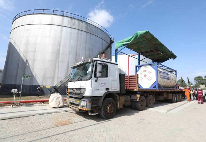 Trucks of the first crude oil consignment from Lokichar,Turkana arrives at the Mombasa's Changamwe KPRL storage facility on Thursday 7th June, 2018. (The Standard)
