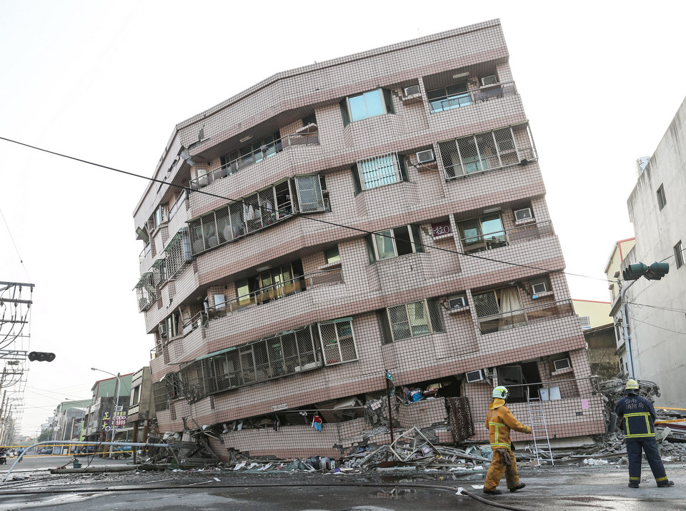 A damaged building is seen after a powerful earthquake hit Tainan