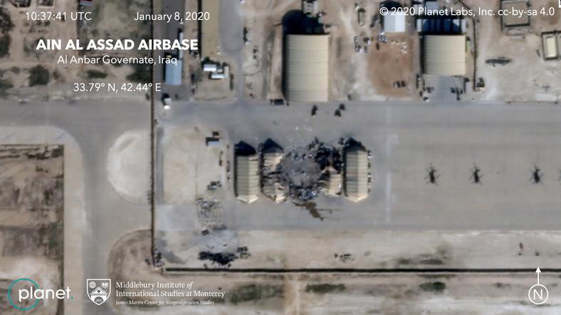 Na bazę spadło kilkadziesiąt pocisków, wystrzelonych z terytorium Iranu.