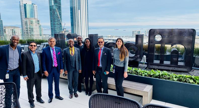 Photo UN: The Government of Kenya and the UN Kenya team with their hosts on the roof of the LinkedIn HQ in San Francisco on 21 Jan 2019