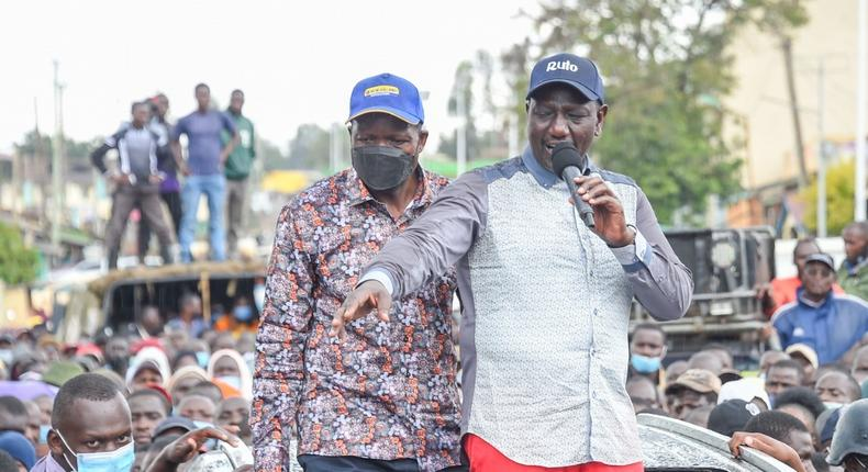 Deputy President William Ruto with Migori Governor Okoth Obado during pre-election campaigns in Awendo