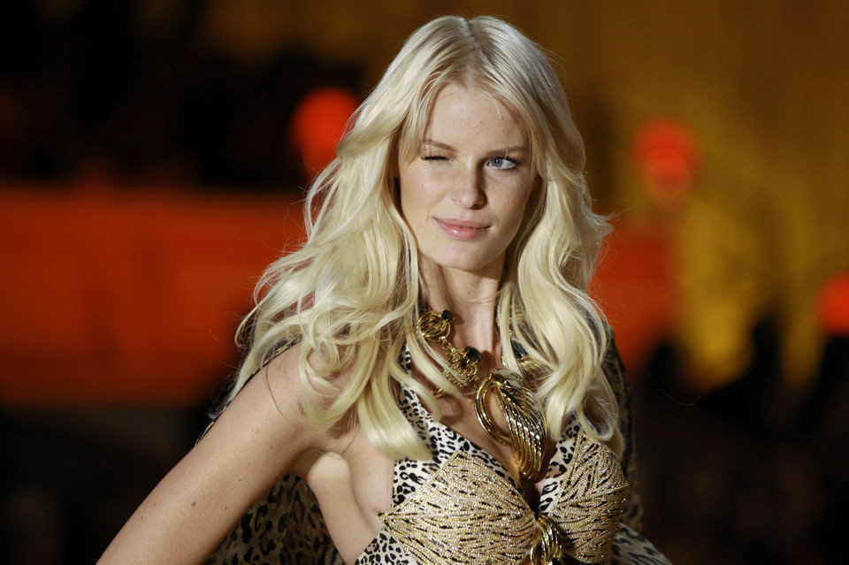 Model Caroline Winberg presents a creation during the Victoria's Secret Fashion Show in New York