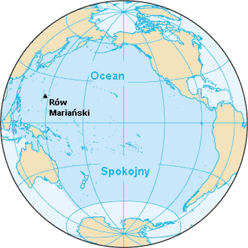 Położenie Rowu Mariańskiego w Oceanie Spokojnym
