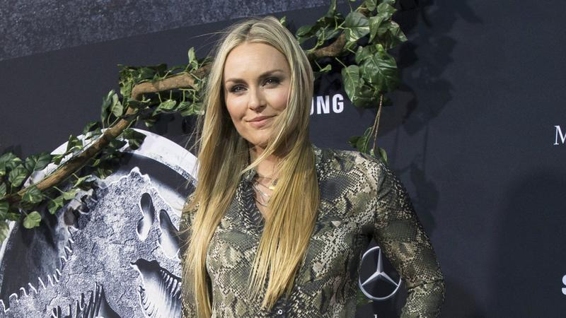 "Vonn poses at the premiere of ""Jurassic World"" in Hollywood"
