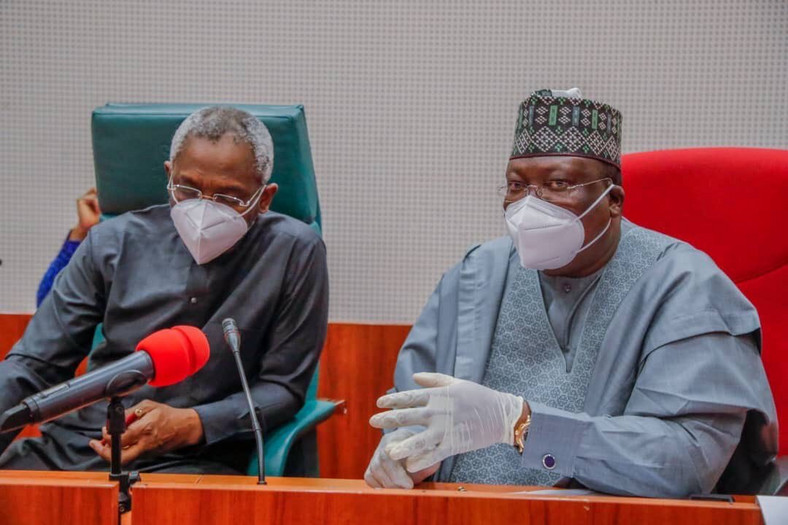 President of the Senate, Ahmaad Lawan (Right) and Speaker of the House of Representatives, Femi Gbajabiamila. [Twitter/@SPNigeria]