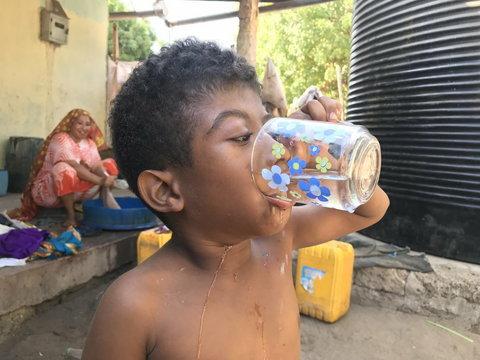 drinking clean water kiunga kenya