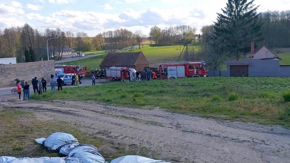 Wypadek ciągnika rolniczego fot. OSP Nowe Kramsko
