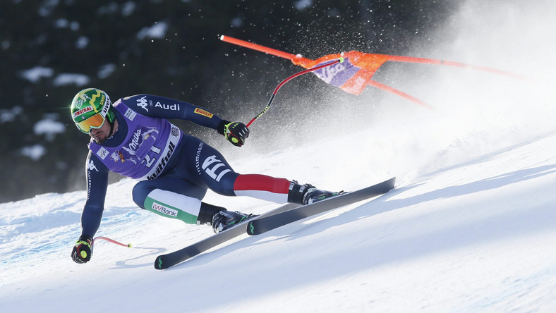Dominik Paris of Italy competes during the men's downhill Alpine Ski World Cup race in Kvitfjell