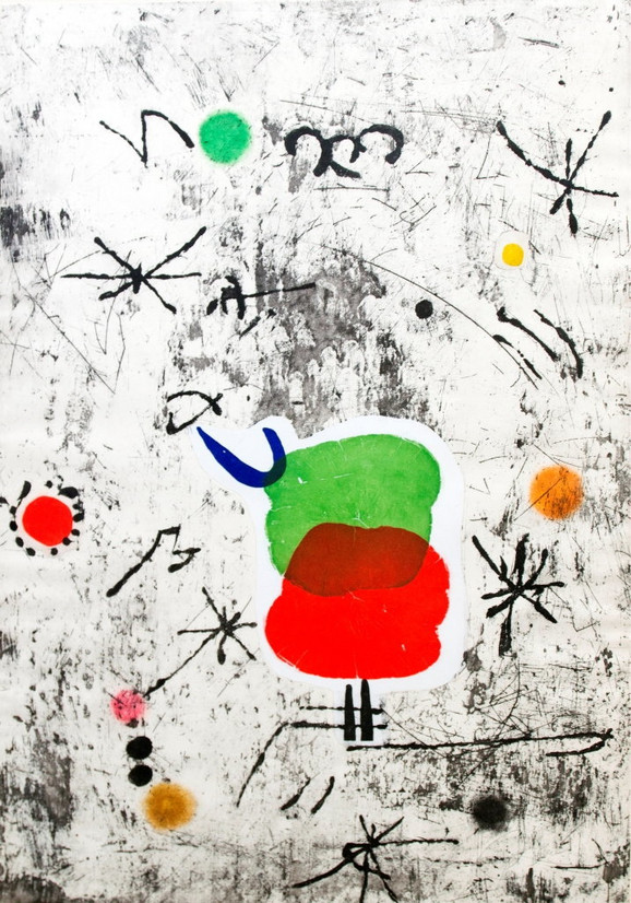"Huan Miro - ""Personatage i estelas"" kolaž, drvorez i akvatinta iz 1979. godine"