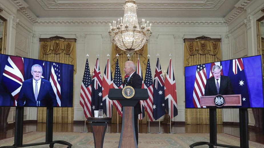 Joe Biden na konferencji wideo z premierami Borisem Johnsonem i Scottem Morrisonem