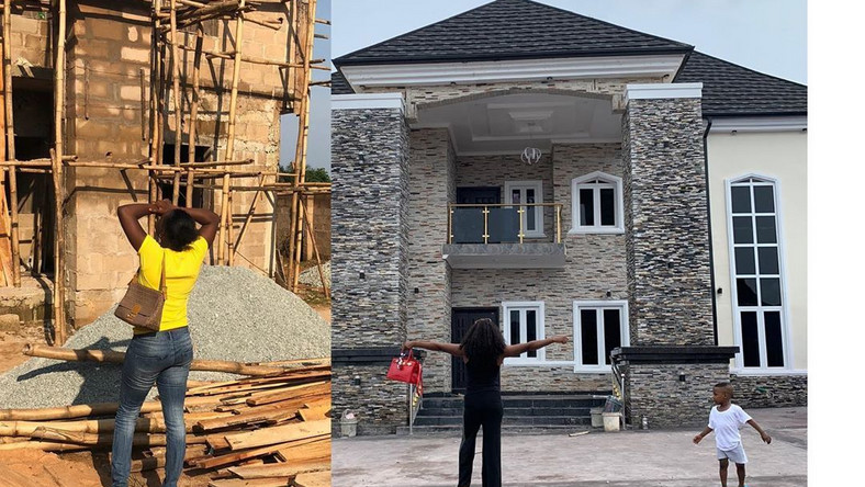Strong woman 'angrily' builds 7-bed-roomed house after husband chased her out of 1-bedroom home