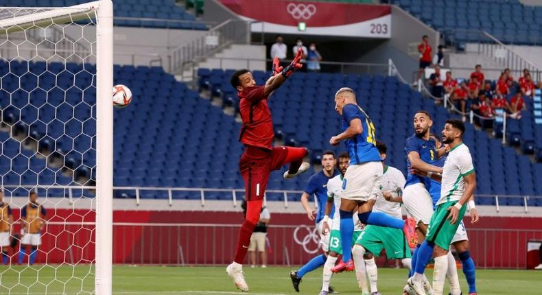 Richarlison heads in the first of his two goals as Brazil beat Saudi Arabia at the Olympics Creator: Ayaka Naito