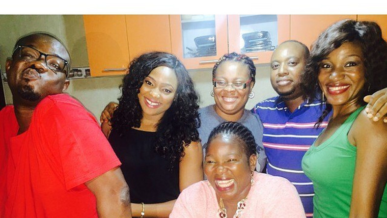 Charles Inojie, Ada Ameh, Judith Audu, Mary Lazarus on set of upcoming comedy film