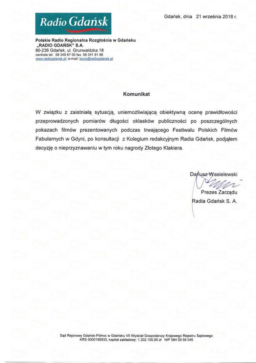 Oświadczenie prezesa Radia Gdańsk