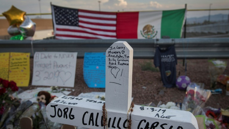 A memorial stands outside the Walmart in El Paso where 22 people were shot to death