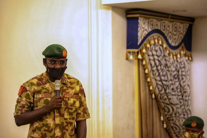 Buratai warns that social media is being used to spread falsehood about the achievements of troops [Twitter/@HQNigerianArmy]