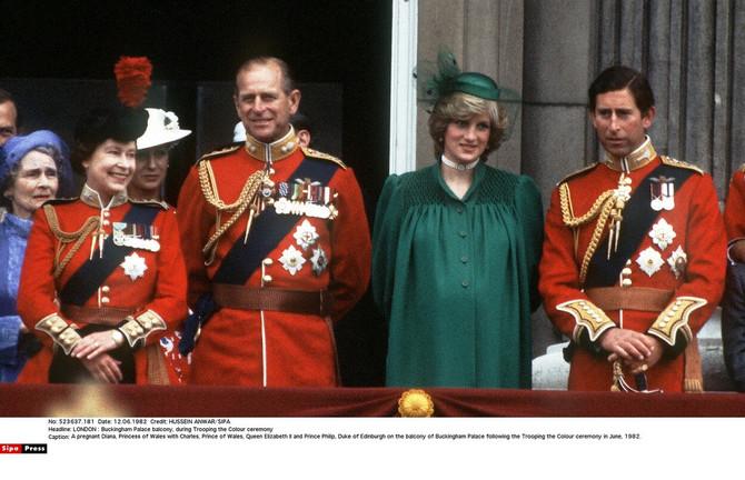 Princeza Dajana sa princom od Velsa, kraljicom Elizabetom II i princom od Edinburga na ceremoniji