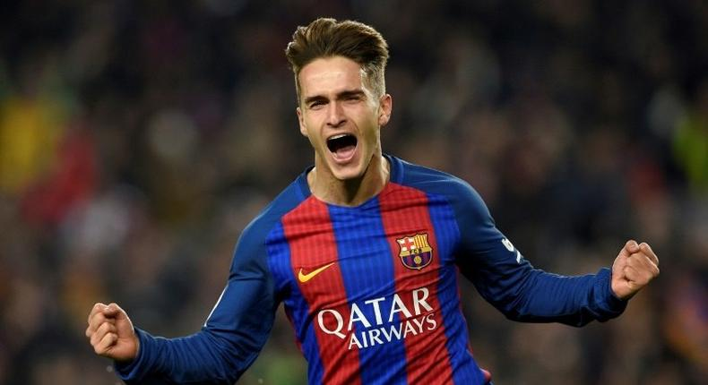 Barcelona's Denis Suarez celebrates after scoring the opener against Real Sociedad during the Spanish Copa del Rey quarter final second leg football match at Camp Nou stadium in Barcelona on January 26, 2017